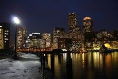 Boston SKyline at night. Boston city skyline at night Royalty Free Stock Photo