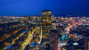 Boston Skyline at Night. With Aerial View Stock Photo