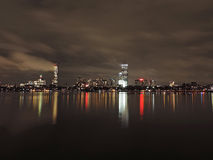 Boston Skyline at Night Royalty Free Stock Image