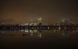 Boston skyline at night from Cambridge Stock Image