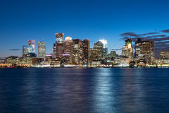 Boston Skyline at Night stock images