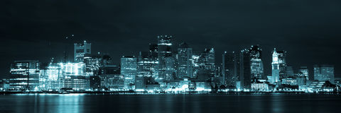 Boston skyline by night from East Boston, Massachusetts - USA Stock Images