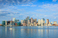 Boston skyline by night from East Boston, Massachusetts - USA Royalty Free Stock Photo