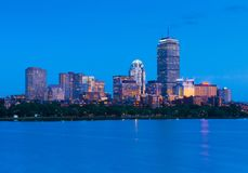 Boston skyline at night. Illuminated buildings in Back Bay, USA Stock Photo
