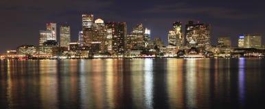 Boston skyline at night, Inner Harbor Stock Image