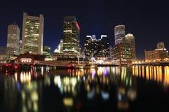 Boston skyline at night, Inner Harbor Royalty Free Stock Photo