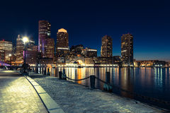 Boston skyline by night - Massachusetts - USA Stock Images