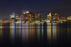 Boston Skyline at night, Massachusetts, USA Royalty Free Stock Images