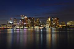 Boston Skyline at night, Massachusetts, USA Stock Photography