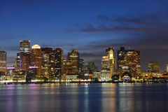 Boston Skyline at night, Massachusetts, USA Stock Images