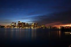 Boston Skyline at night, Massachusetts, USA Stock Photos