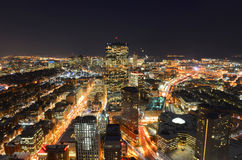 Boston Skyline at night, Massachusetts, USA Stock Photos