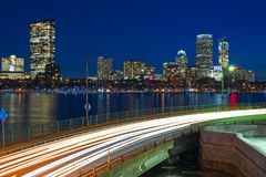 Boston skyline at night over the Charles River royalty free stock image