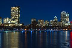 Boston skyline at night overlooking the Charles river royalty free stock image