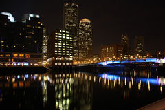 Boston skyline night scene. Skyline of Boston reflecting on water at night, Massachusetts, U.S.A Stock Photography