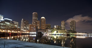 Boston skyline at night time royalty free stock images