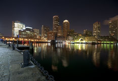 Boston skyline at night time Stock Photography