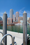 Boston skyline and Northern Avenue Bridge. Stock Photography