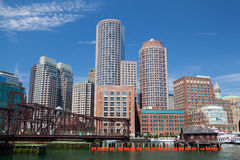 Boston skyline and Northern Avenue Bridge. Royalty Free Stock Photo