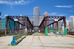 Boston skyline and Northern Avenue Bridge. Stock Images