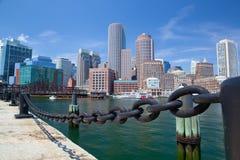 Boston skyline and Northern Avenue Bridge. Royalty Free Stock Photos
