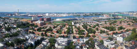 Boston Skyline panorama. Viewed from Bunker Hill Monument, Charlestown, Massachusetts Stock Images
