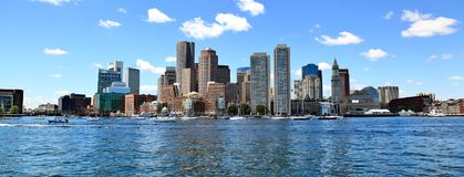Boston Skyline Panorama. Boston skyline on the harbor side, USA stock image