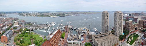 Boston Skyline panorama, USA. Boston downtown skyline panorama (facing east), from tower of Boston Custom House, Massachusetts, USA Stock Images