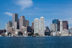 Boston Skyline on a bright blue sky day royalty free stock image