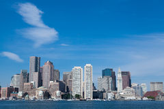 Boston Skyline. This is a picture of the Boston Skyline on a lovely blue sky day. Taken in the harbor Royalty Free Stock Photography