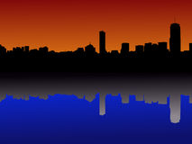Boston skyline reflected Royalty Free Stock Images