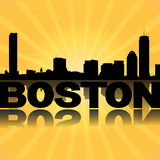 Boston skyline reflected with sunburst Royalty Free Stock Photography