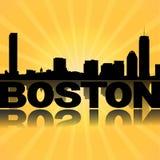 Boston skyline reflected with sunburst Royalty Free Stock Photography