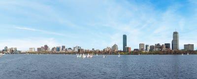 Boston skyline. On the river, panoramic image stock photo