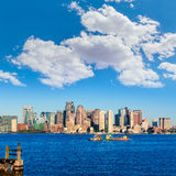 Boston skyline with river sunlight Massachusetts Stock Image