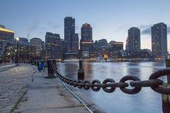 Boston, Skyline of Boston at sunset. Boston, Skyline of Boston`s Financial District at sunset royalty free stock photo