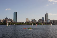 Boston Skyline and Sailboats along Charles River Royalty Free Stock Photos