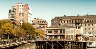 Boston skyline from the sea. Boston skyline from the royalty free stock photos