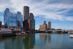 Boston skyline and Seaport boulevard bridge from Congress Street Royalty Free Stock Image