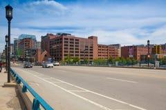 Boston skyline from Seaport boulevard bridge. stock photo