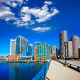 Boston skyline from Seaport boulevard bridge Stock Images