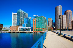 Boston skyline from Seaport boulevard bridge Royalty Free Stock Photo