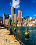 The Boston skyline, seen from across Fort Point Channel. Stock Image
