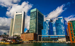 The Boston skyline, seen from across Fort Point Channel. Stock Images