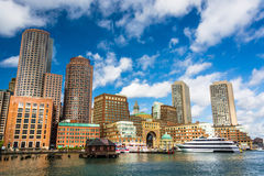 The Boston Skyline, seen from Fort Point. Stock Images