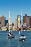 Boston skyline seen from Piers Park, Massachusetts Royalty Free Stock Photos