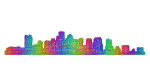 Boston skyline silhouette - multicolor line art Royalty Free Stock Photography
