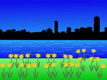 Boston skyline in spring Royalty Free Stock Photo