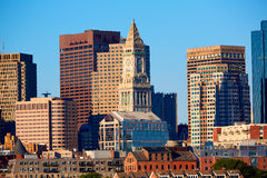 Boston skyline in sunlight at Massachusetts Stock Photography