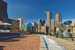 Boston skyline on a sunny winter day Royalty Free Stock Image